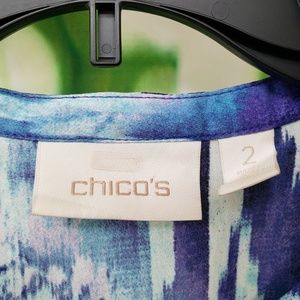 Chico's blue floral layered semi sheer top L/2